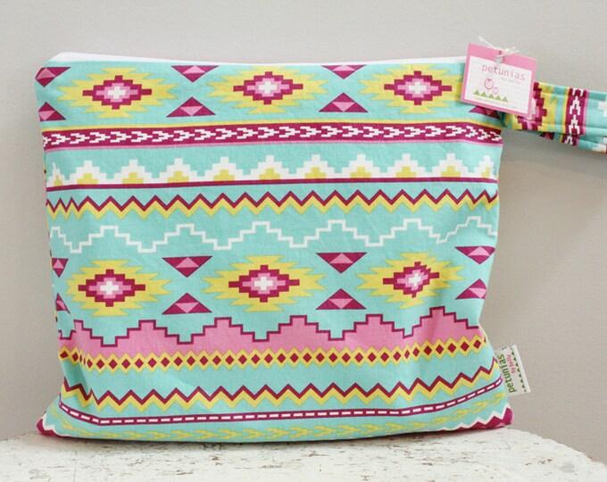 Wet Bag wetbag Diaper Bag ICKY Bag aztec PETUNIAS gym bag swim cloth diaper accessories zipper shower gift newborn baby child kids summer