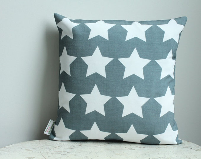 Pillow cover blue star 14 inch 14x14 modern hipster accessory home decor nursery baby gift present zipper closure canvas ready to ship