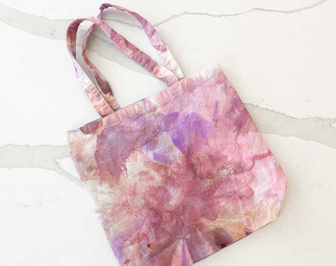 Tote bag - hand dyed - PETUNIAS by Kelly - one of a kind ice dye tie dye
