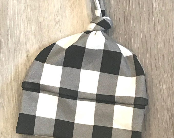 baby hat black white buffalo check plaid Organic knot modern newborn shower gift photography prop hospital outfit accessory neutral girl boy