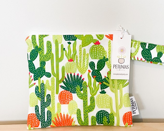 The ICKY Bag petite - wetbag - PETUNIAS by Kelly - Cactus