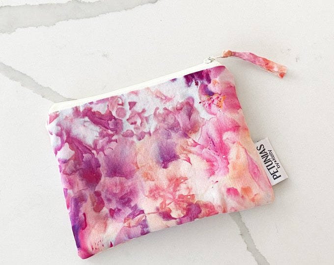 The ICKY Bag - mini wetbag zipper pouch - PETUNIAS by Kelly - hand dyed - one of a kind