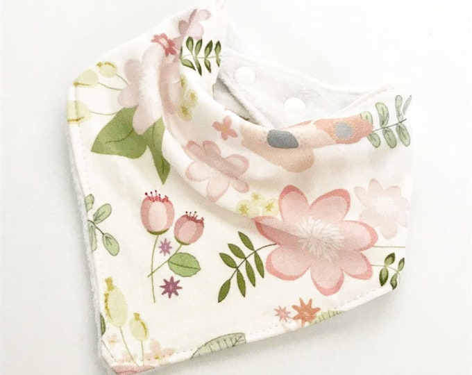 baby bib toddler bandana bandanna bib teething bib drool bib baby shower gift pink coral blush floral adjustable snap absorbent child bib