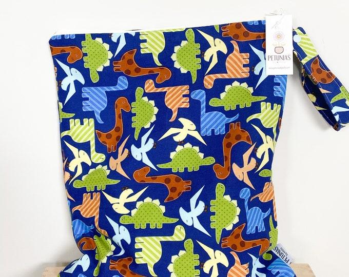 The ICKY Bag XL - wetbag - PETUNIAS by Kelly - blue dinosaur