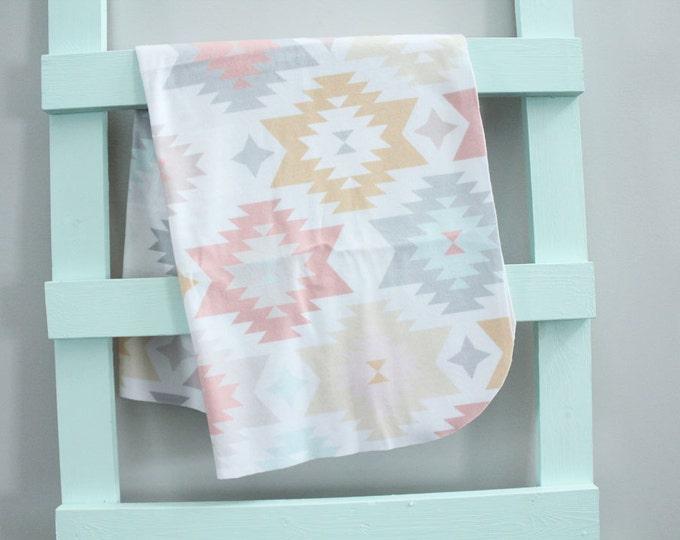 baby blanket swaddle fleece blush aztec  by PETUNIAS newborn hipster modern baby shower gift photo prop wrap cotton boy nuetral