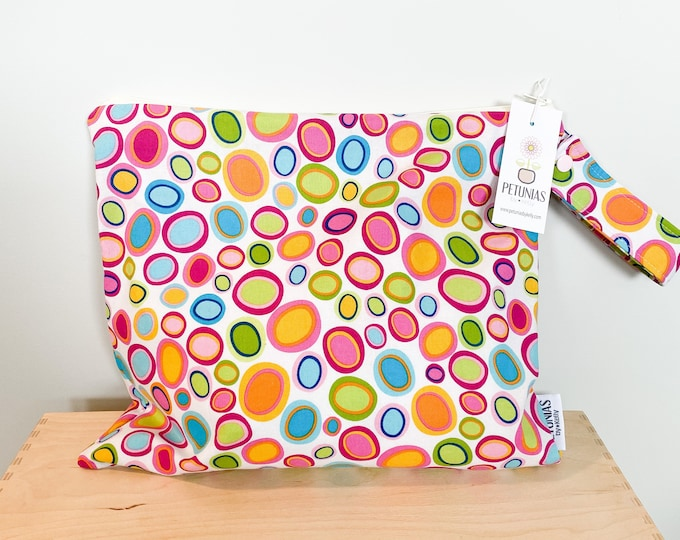 The ICKY Bag - wetbag - PETUNIAS by Kelly - bright dots