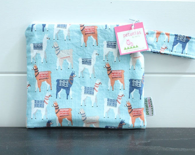 wetbag wet bag The ICKY Bag petite blue llama alpaca modern baby gift waterproof gym sports cloth diaper pouch zipper handle baby gift