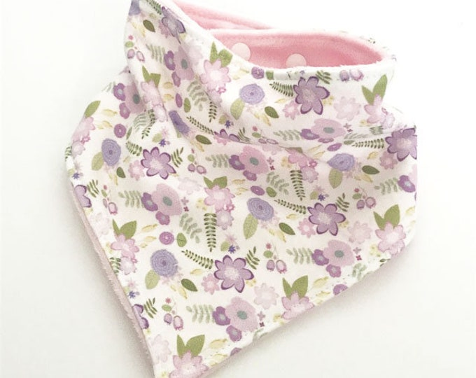 baby bib toddler bandana bandanna bib teething bib drool bib baby shower gift lavender purple floral adjustable snap absorbent child bib