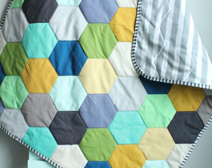 Baby QUILT hexagon modern hipster by PETUNIAS - heirloom vintge style blanket nursery decor vintage newborn shower gift room crib bedding