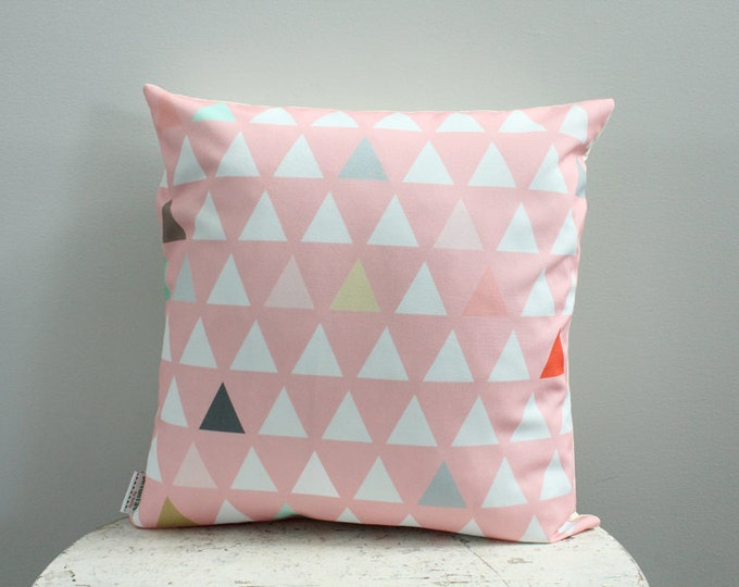 SALE triangle coral pink Pillow cover 18 inch 18x18 modern hipster accessory home decor nursery baby gift present zipper canvas