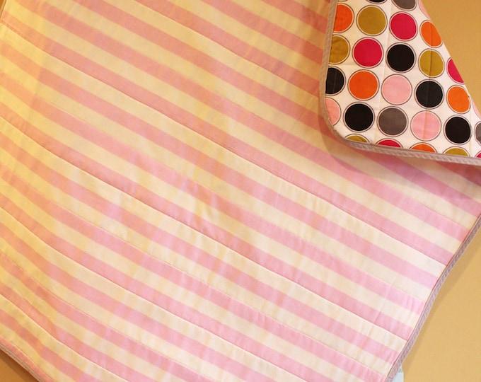 SALE Baby quilt blanket stripe pink cream hipster geometric modern nursery decor shower gift newborn photo prop present stylish PETUNIAS