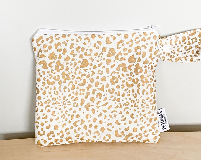 The ICKY Bag petite - wetbag - PETUNIAS by Kelly - gold leopard