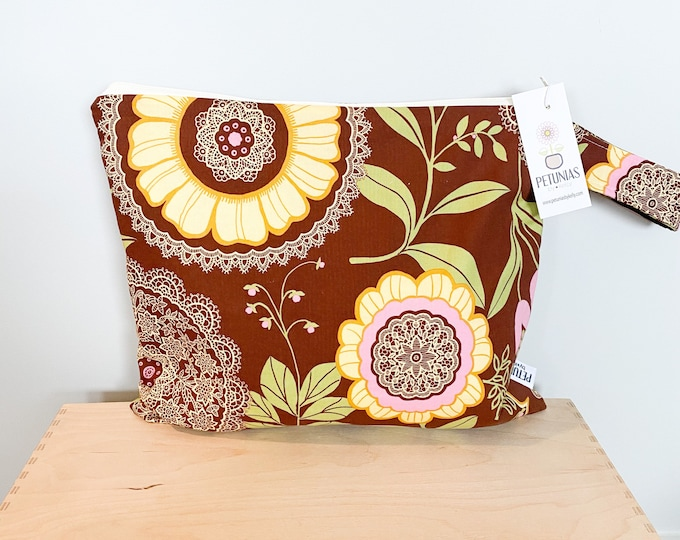 The ICKY Bag - wetbag - PETUNIAS by Kelly - brown lace floral