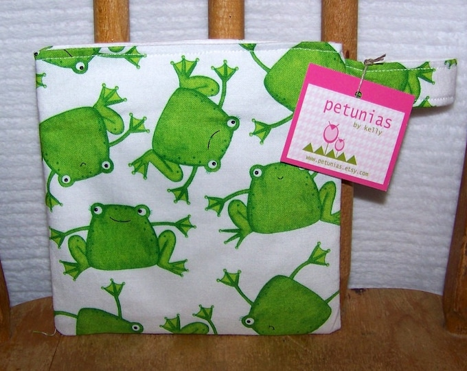 Reusable Little Snack Bag - pouch adults kids frog eco friendly by PETUNIAS