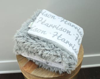 Personalized Baby Blanket faux fur minky lovey name blanket baby gift cloud blanket llama grey newborn gift plush photo prop toddler child