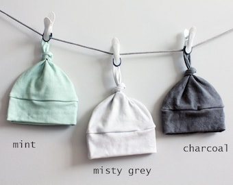 Baby Hat Solid color mint grey charcoal Organic knot PETUNIAS modern newborn baby shower gift photo prop hospital outfit accessory