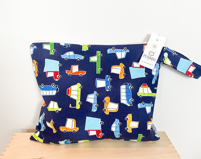 The ICKY Bag - wetbag - PETUNIAS by Kelly - navy cars