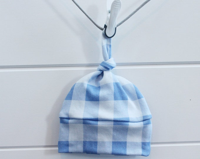 Baby Hat blue buffalo check Organic knot by PETUNIAS hipster modern newborn shower gift photography prop outfit accessory neutral boy