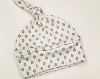 baby hat grey white dot Organic knot modern newborn shower gift photography prop hospital outfit accessory neutral girl boy