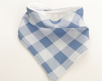 baby bib toddler bandana bandanna bib teething bib drool bib baby shower gift blue buffalo check plaid adjustable snap absorbent child bib