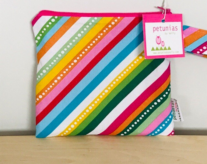 wetbag wet bag The ICKY Bag petite rainbow stripe modern baby gift waterproof gym sports cloth diaper pouch zipper handle baby gift