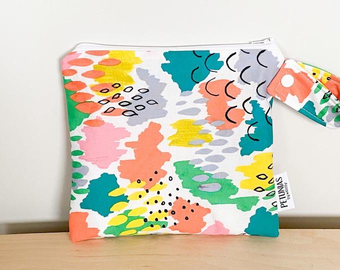 The ICKY Bag petite - wetbag - PETUNIAS by Kelly - splash paint