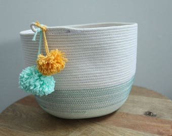 Basket rope coil bin storage organizer bowl pompoms natural mint gold by PETUNIAS