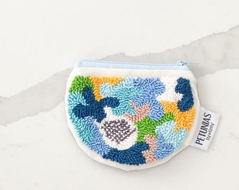 Zipper pouch - punch needle - PETUNIAS by Kelly