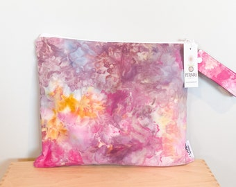 The ICKY Bag - wetbag - PETUNIAS by Kelly - hand dyed - one of a kind