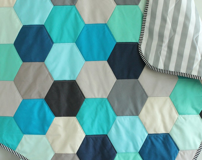 Baby QUILT hexagon modern hipster by PETUNIAS - heirloom vintage style blanket nursery decor vintage newborn shower gift room crib bedding