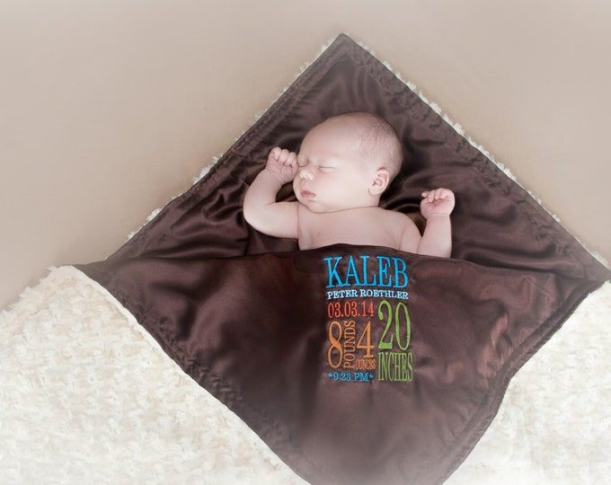 Blanket Birth stat personalized Large Fluffy Blanket - minky satin birth stats embroidery newborn gift photo prop baby blanket monogram