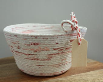 Basket rope coil natural thread painted coral blush bin storage organizer bowl wooden tag by PETUNIAS