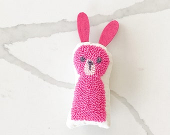 Tiny punch needle bunny rabbit doll - PETUNIAS by Kelly - stuffed toy