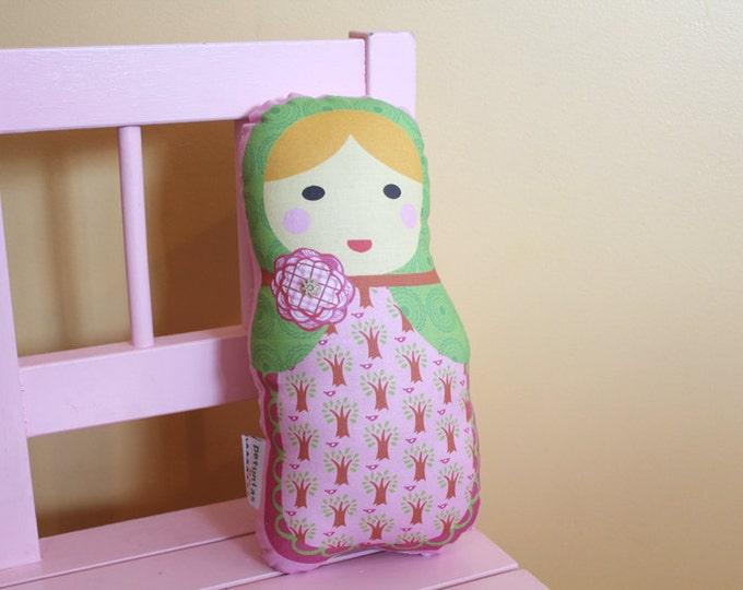PETUNIAS' Matryoshka Babushka Doll Pillow plush softie baby girl gift photo prop stuffed pink  blond hair