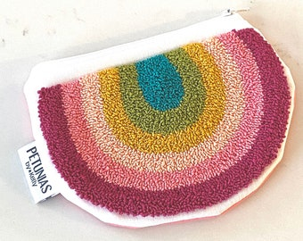 Zipper pouch - punch needle - PETUNIAS by Kelly - sample SALE
