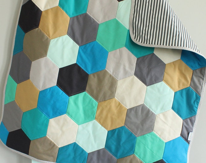 SALE Baby QUILT hexagon modern hipster PETUNIAS heirloom vintge style blanket nursery decor vintage newborn shower gift room crib bedding