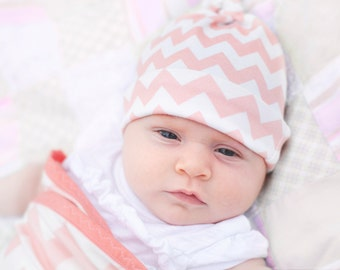 SALE Baby hat Coral Chevron Organic knot PETUNIAS hipster modern newborn shower gift photography prop hospital outfit accessory neutral girl