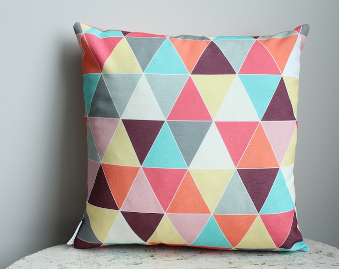 SALE Raspberry triangle Pillow cover 18 inch 18x18 modern hipster accessory home decor nursery baby gift zipper closure canvas ready to ship