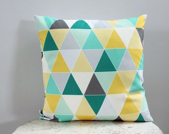 SALE Pillow cover triangle mint 18 inch 18x18 modern hipster accessory home decor nursery baby gift present zipper canvas ready to ship
