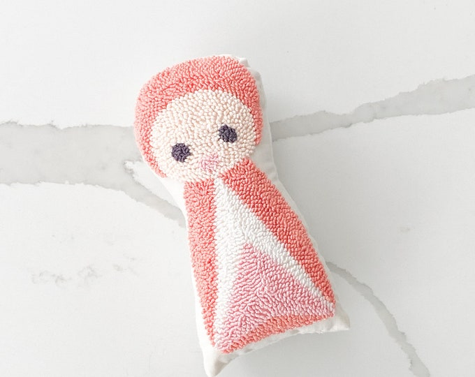 Punch needle baby doll - PETUNIAS by Kelly - stuffed toy