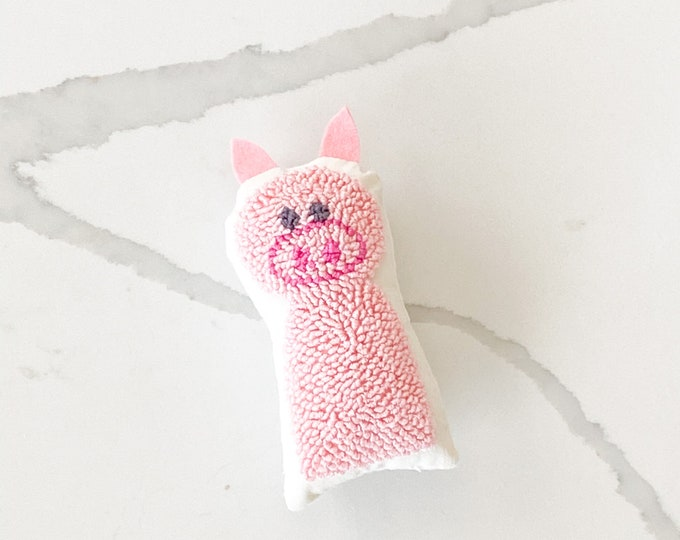 Tiny punch needle pig doll - PETUNIAS by Kelly - stuffed toy