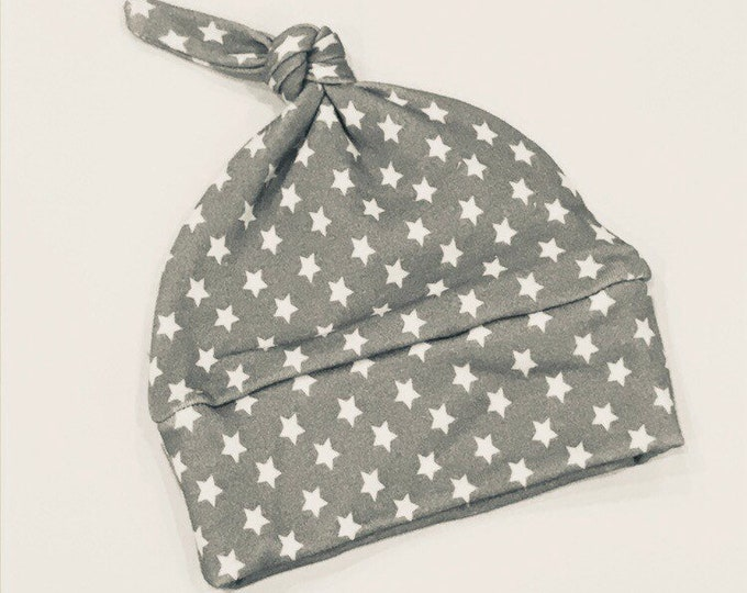 baby hat grey white star Organic knot modern newborn shower gift photography prop hospital outfit accessory neutral girl boy