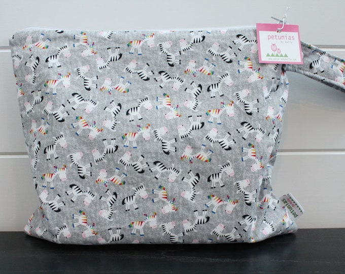Wet Bag wetbag Diaper Bag ICKY Bag wet proof grey zebra gym bag swim cloth diaper accessories zipper gift newborn baby kids beach bag