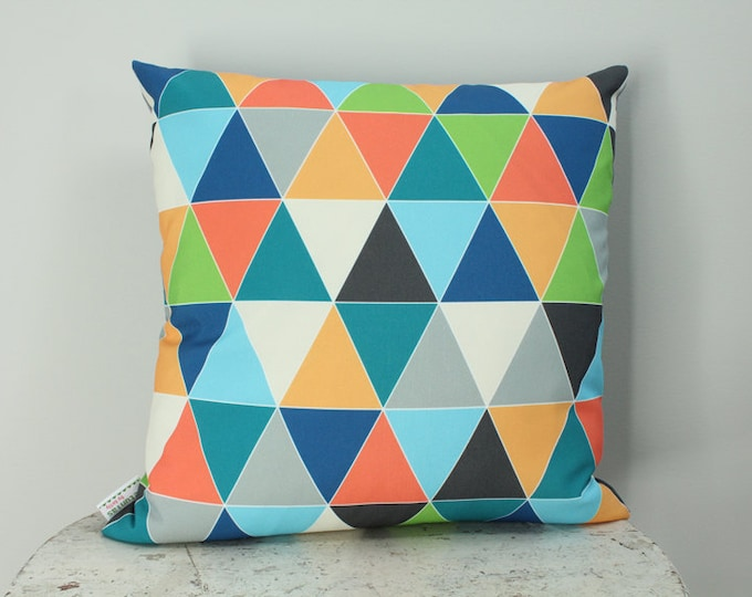 SALE Pillow cover triangle geometric 18 inch 18x18 modern hipster accessory home decor nursery baby gift present zipper canvas ready to ship