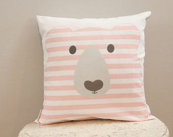 Pillow cover coral bear 18 inch 18x18 modern hipster accessory home decor nursery baby gift present zipper closure canvas ready to ship