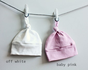 Baby Hat Solid color white pink Organic knot PETUNIAS modern newborn baby shower gift photo prop hospital outfit accessory