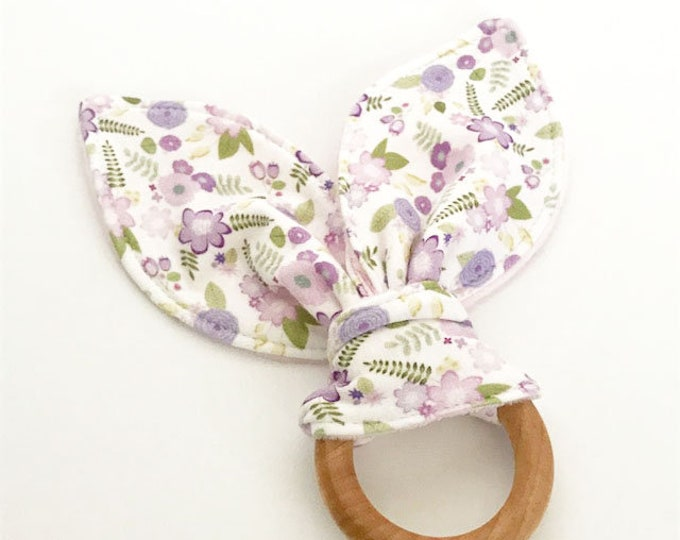 teething ring purple floral bunny ears wooden ring teether natural baby shower gift teething toy you pick color unique