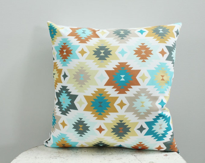 SALE Pillow cover turquoise aztec 18 inch 18x18 modern hipster accessory home decor nursery baby gift present zipper canvas ready to ship