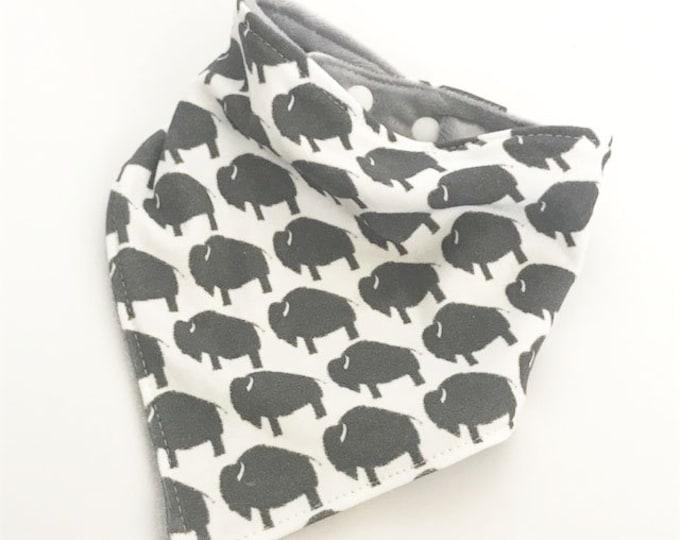 baby bib toddler bandana bandanna bib teething bib drool bib baby shower gift grey buffalo bison adjustable snap absorbent child bib