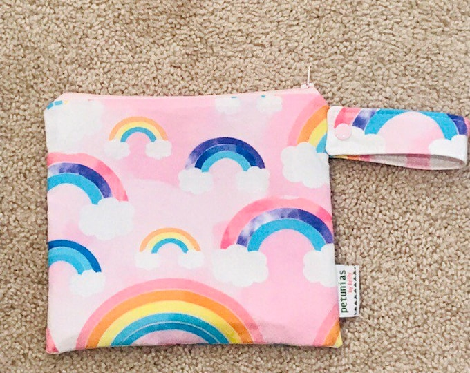 wetbag wet bag The ICKY Bag petite pink rainbow modern baby gift waterproof gym sports cloth diaper pouch zipper handle baby gift